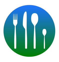 Fork spoon and knife sign white icon in vector