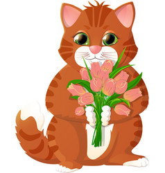 Ginger kitten with pink tulips vector