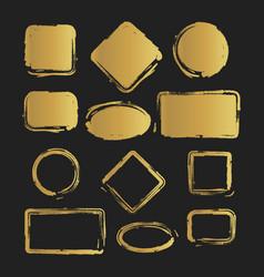 golden grunge vintage painted shapes set vector image