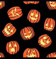 halloween scary pumpkin pattern vector image