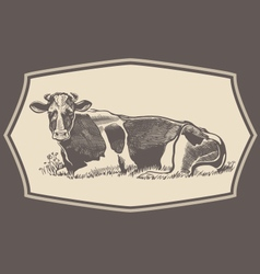 Hand drawn cow emblem vector image vector image