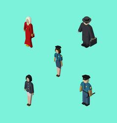 Isometric human set of policewoman officer girl vector