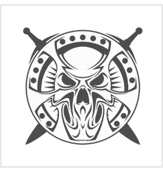 Monochrome Medieval skull isolated on white vector image vector image