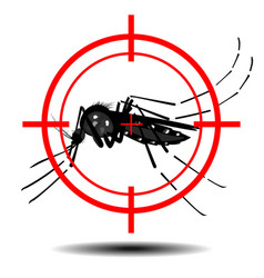 Mosquitoes with mosquito target flat design vector