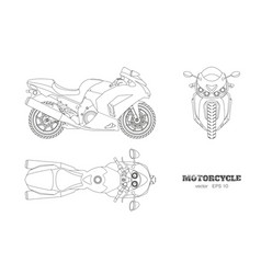 outline drawing of motorcycle vector image vector image