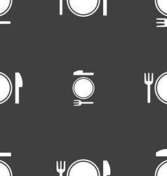 Plate icon sign seamless pattern on a gray vector