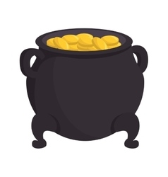 pot coins lucky gold st patrick vector image