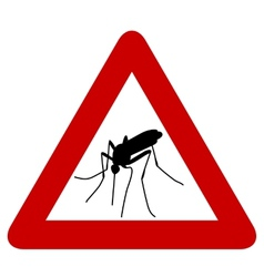 sign with black silhouette of mosquito vector image