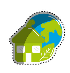 Sticker green house with leaf and earth planet vector