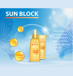 Sunscreen ads template sun protection sunblock vector