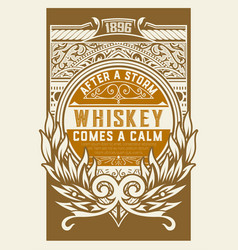 whiskey label with floral details vector image