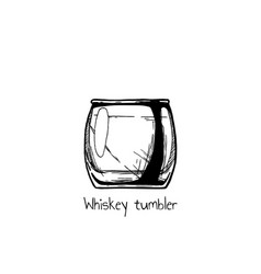 whiskey tumbler glass vector image vector image