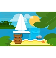 Seascape with sailing yacht summer banner vector