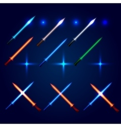 Isolated blue and red color cossed light swords vector image