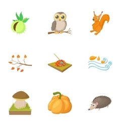 Season of year autumn icons set cartoon style vector