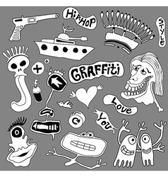 Graffiti elements urban art vector image