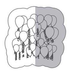 sticker shading silhouette flying balloons and vector image