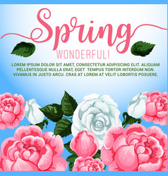 Spring season flowers greeting card design vector