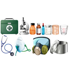 Different medical equipments on white background vector