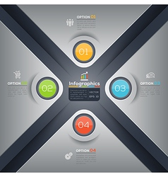 Modern business X shape infographics layout vector image