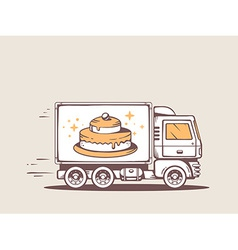 Truck free and fast delivering cake to cu vector