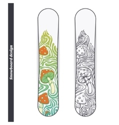Snowboard design four vector