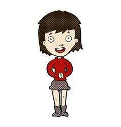 Comic cartoon excited woman vector
