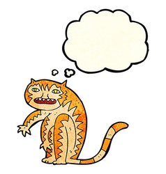 Cartoon tiger with thought bubble vector