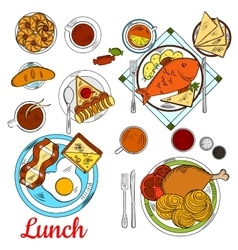 Healthy lunch icon with main dishes and desserts vector