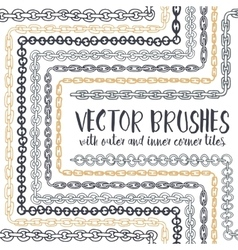 Set of 8 hand drawn chain pattern brushes vector
