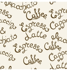 Coffee seamless pattern lettering vector