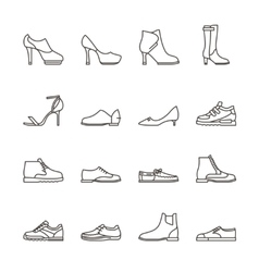 Shoes line icons vector image