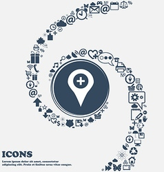 Plus map pointer gps location icon sign in the vector