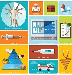 Health and medical flat icon set vector