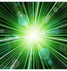 Abstract green striped burst background vector image vector image