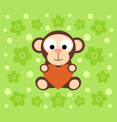 background with funny monkey cartoon vector image