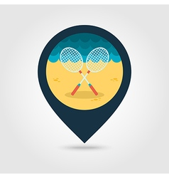 Badminton Racket pin map icon Summer Vacation vector image vector image