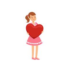 beautiful teen girl holding red heart happy vector image vector image