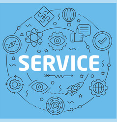 blue line flat circle service vector image vector image