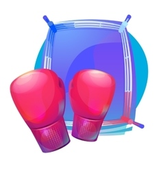 Boxing protective gloves on top of ring with vector image vector image