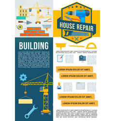 Building construction work tools poster vector