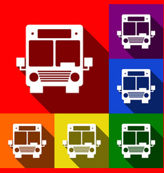 Bus sign set of icons with vector