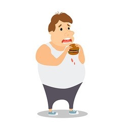 Cartoon Fat Man eating Burger vector image vector image