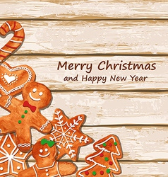 Christmas greeting card with gingerbread cookies vector image