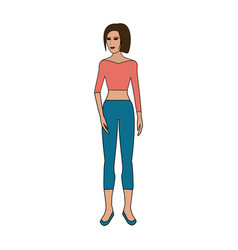 Color image cartoon full body woman with pants and vector