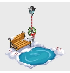 Composition with street lamp bench and ice hole vector