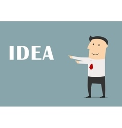 Creative businessman pointing to idea vector image