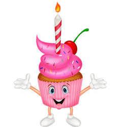 Cup cake cartoon with candle vector