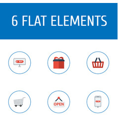 flat icons trolley bag purchase and other vector image