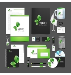 Floral stationery template design green leaves vector